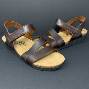 Naot Kayla Sandals Brown Leather Ankle Straps